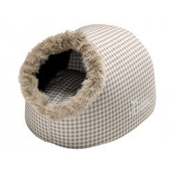 Couchage Chat IGLOO CARREAUX BEIGE 38 X 40 X 27 cm