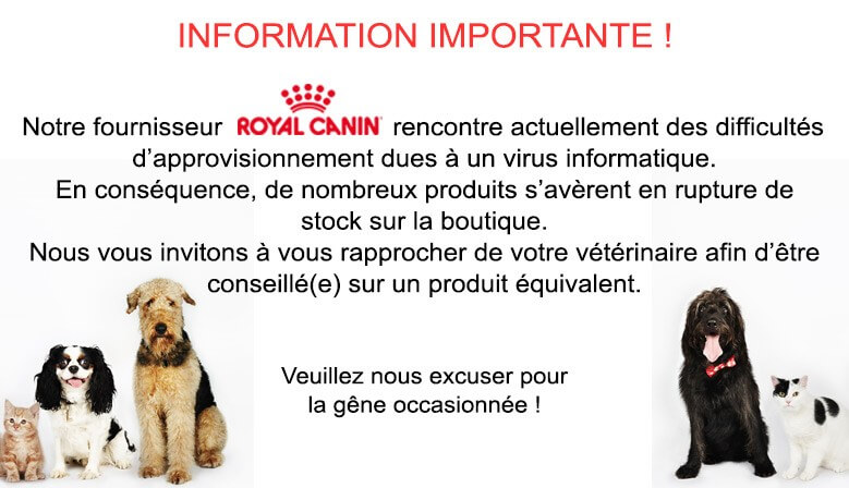 Information relative aux ruptures de stock Royal Canin